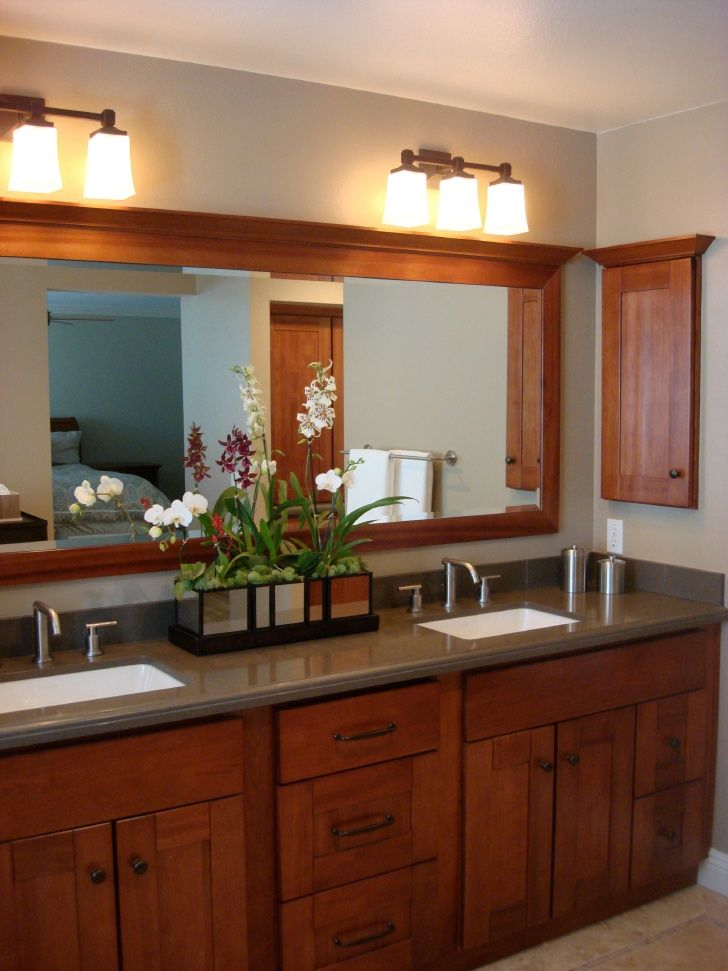 A Very Doable Master Bathroom Remodel Flat Panel Face To Upper Drawer And Faux Drawers Simple Clean Shaker Style Cabinet Doors In Cognac Stain