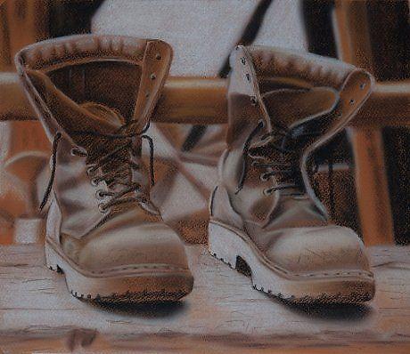 Старые ботинки - Изобразительное искусство - Пастель, тушь