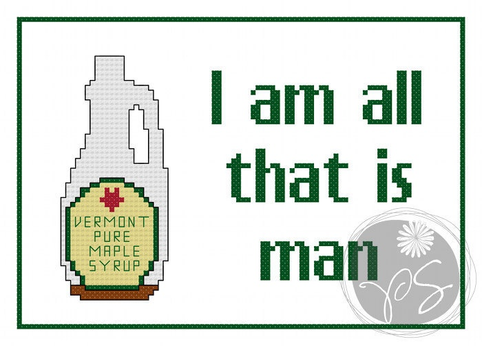 Super Troopers - All That Is Man quote (Printable PDF Pattern). $3.50, via Etsy.
