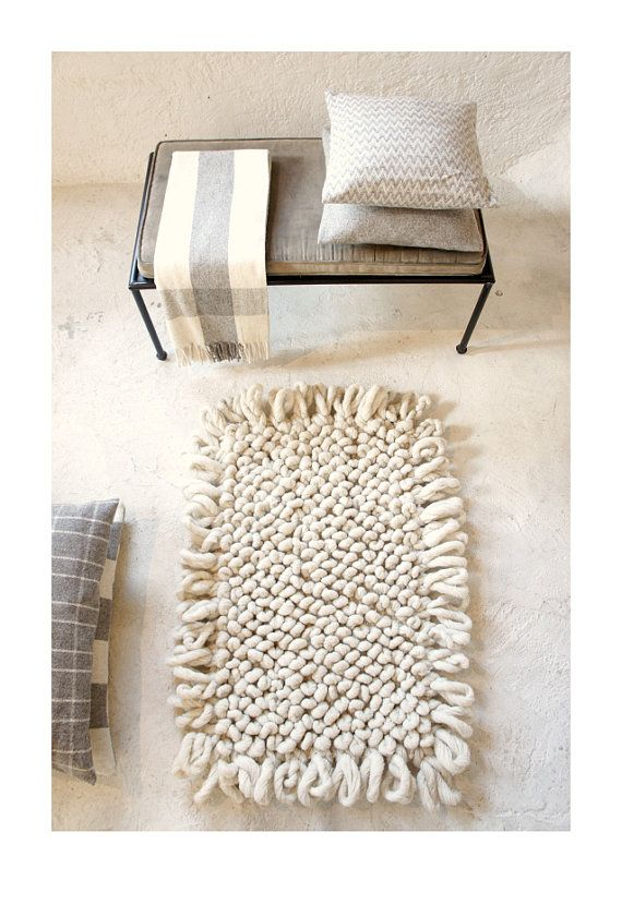 Hand-loomed wool bouclé area rug from mexchic