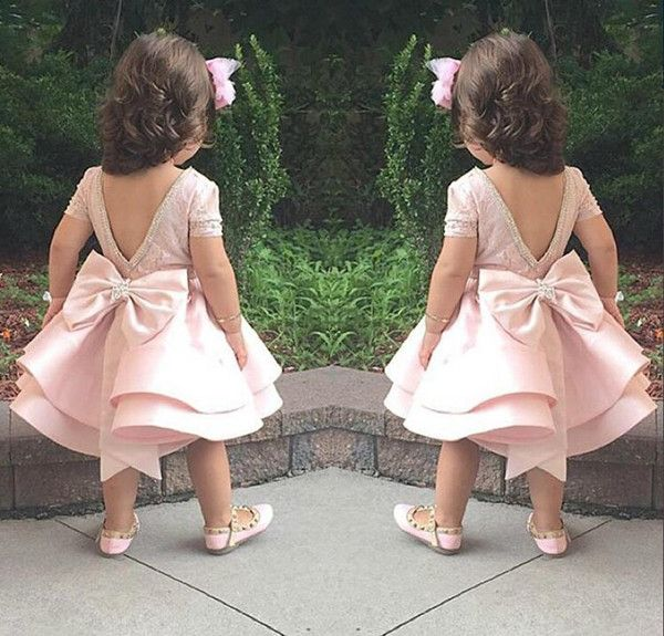 Lovely Puffy Pink Flower Girls Dresses For Wedding Satin First Communion Kids Gowns