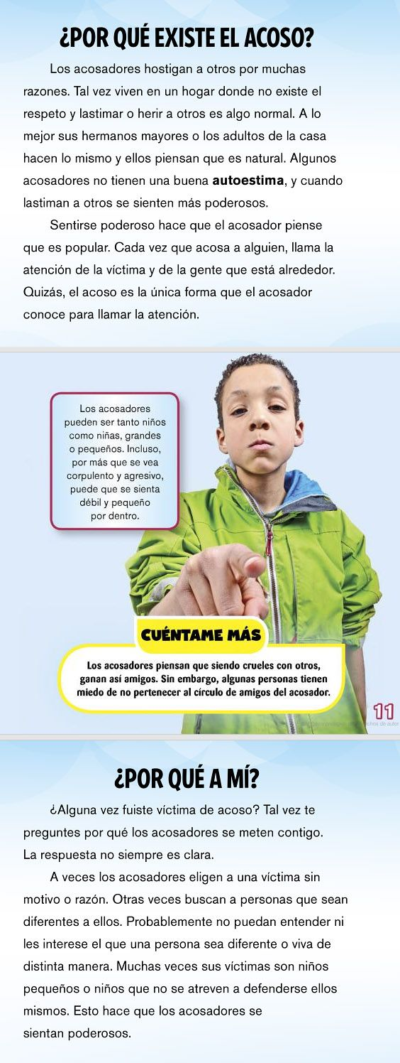 ... ACOSO ESCOLAR. ¿Qué hacer si tu hijo te dice que es víctima de acoso? http://www.cepvi.com/articulos/acoso_escolar3.shtml#.VZQIJPntmko http://www.guiainfantil.com/educacion/escuela/acosoescolar/papelpadres.htm http://www.aacpp.com/pdf/parents/Spanish/bully_fs_parents_spanish.pdf https://www.understood.org/es-mx/friends-feelings/common-challenges/bullying/how-to-help-your-child-defend-against-bullies http://www.dcdcoaching.com/news/%C2%BFque-es-el-matoneo-o-bullying-/