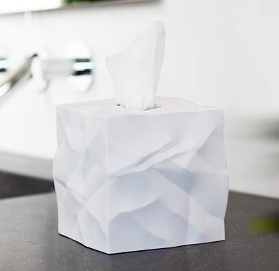 Check out this awesome crumpled tissue box // Wipy White // Available in black, red or white // Available in store and online