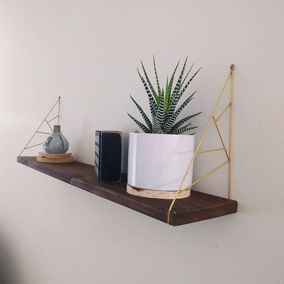 Brass geometric hanging shelf, mid century decor, shelves, hanging shelves