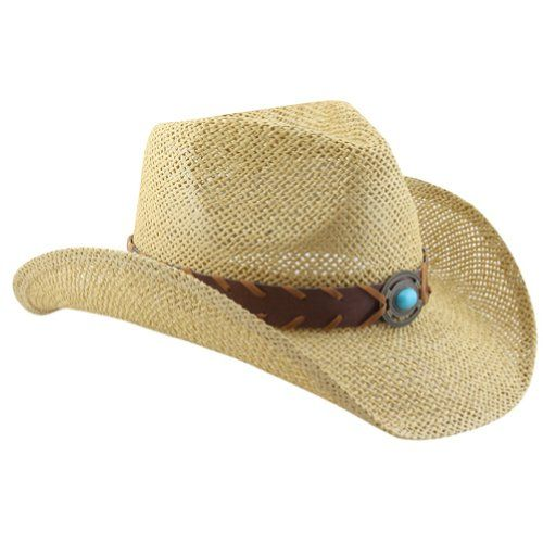 Natural Straw Cowboy Hat for Women with Faux Leather Band and Shapeable Brim  Vamuss http  1024d429ca08