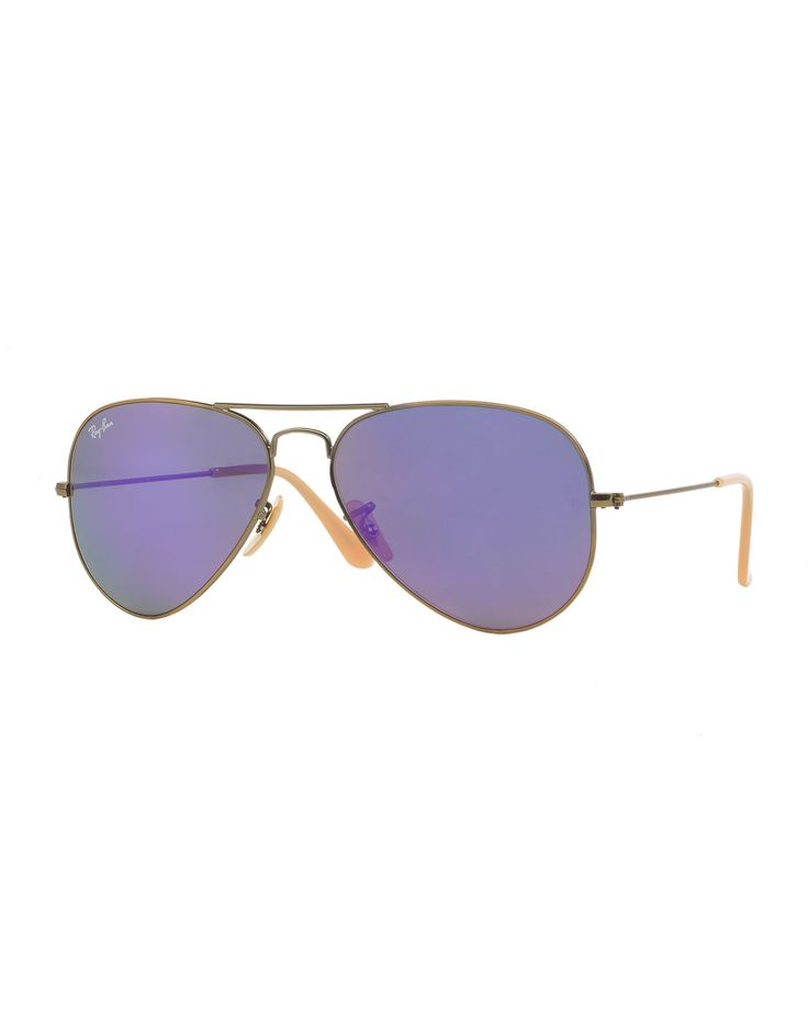 """Ray-Ban Original Aviator sunglasses. Approx. measurements: 5.25""""L x 2""""W x 3.5"""" arms. Metal frames with acetate earpieces. Mirrored aviator lenses. Double nose bridge. 100% UVA/UVB protection. Made in"""