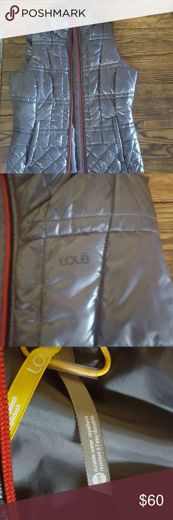 LOLE pewter colored vest Red zipper,2 pocket zip front vest Lole Jackets & Coats Vests