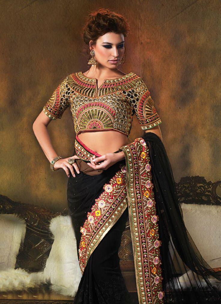 Mystical #Black #Embroidered Net #Saree