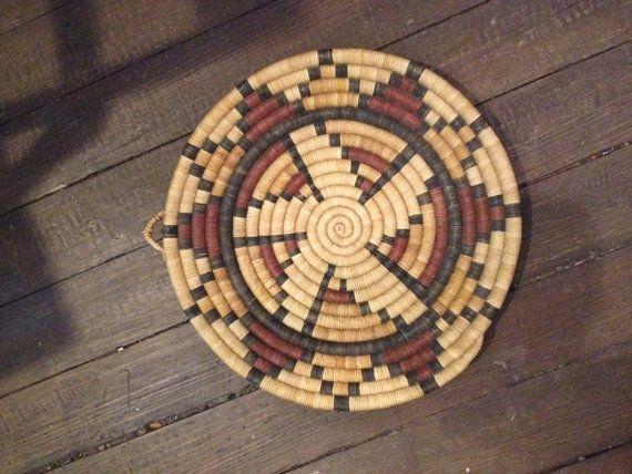 "Vintage Native American Indian 13.5"" Flat Shallow handwoven Bowl Pima Geometric Design"