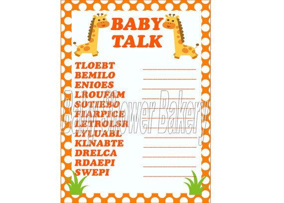 Baby Shower Word Scramble, Orange Giraffe Theme Baby Shower, Printable ...