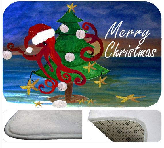 Santa Octopus sea life Merry Christmas coastal beach by maremade : Christmas area rugs ...