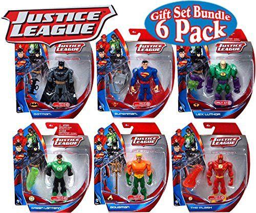 DC Comics Justice League Batman, Superman, Lex Luthor, Green Lantern, Aquaman & The Flash 5 Action Figures Gift Set Bundle -