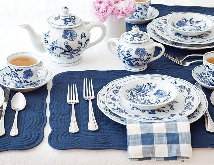 The first blue and white patterns were inspired by Chinese porcelain, and Asian designs continue to be popular today. Blue Danube, a Lipper International pattern introduced in 1951, was inspired by Chinese design created in the Yuan dynasty (A.D. 1260 to 1368). Its stylized flowers are ancient Chinese symbols for good fortune and happiness.Blue Danube place setting