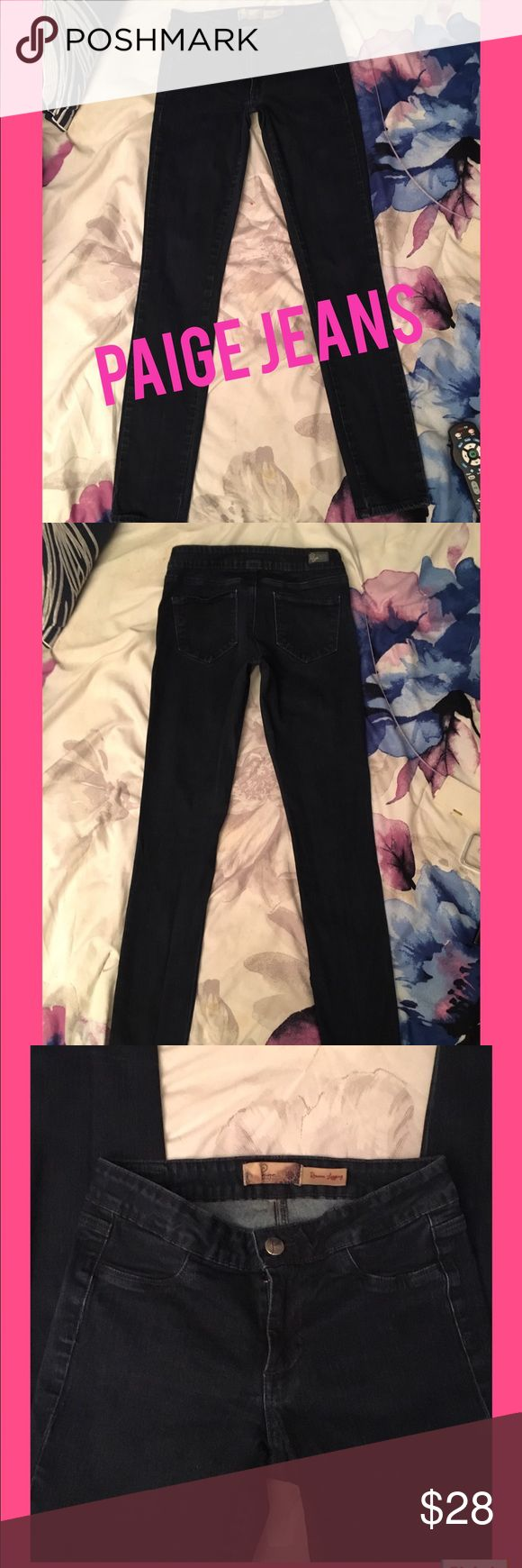 """PAIGE ROWENA LEGGING JEANS. SIZE 24 Paige Dark Wash Jeans.. Style  Rowena Legging.. They Fit Like a Glove!!!  Make Your Booty Look .."""" Real Good """". No Front Pockets... Two Back Pockets. The Rise is 9 Inches.. The Waist is 12 Inches  But There's a Nice Amount Of Stretch so The Waist Can Stretch Up to 3""""... So That Would Take it to 15 Inches on The Waist!! The Size Tag Was Removed!!  ( Sorry ). These are a Size 24 Waist Paige Jeans Jeans Skinny"""