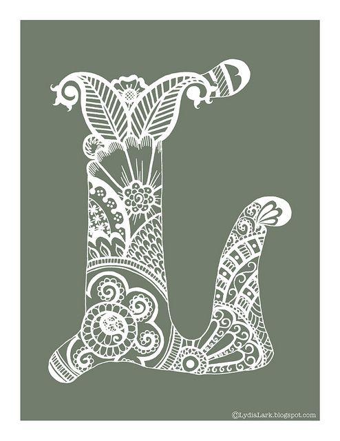 Henna Alphabet Letter L free printable via Lydia Lark