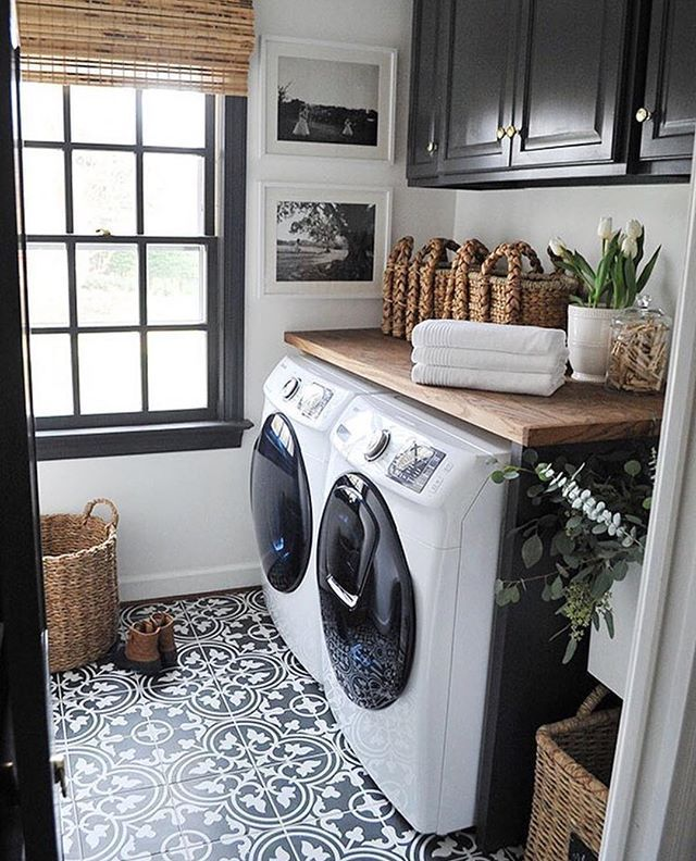 Black White Wood Laundry Room With Black And White Cement Tiles