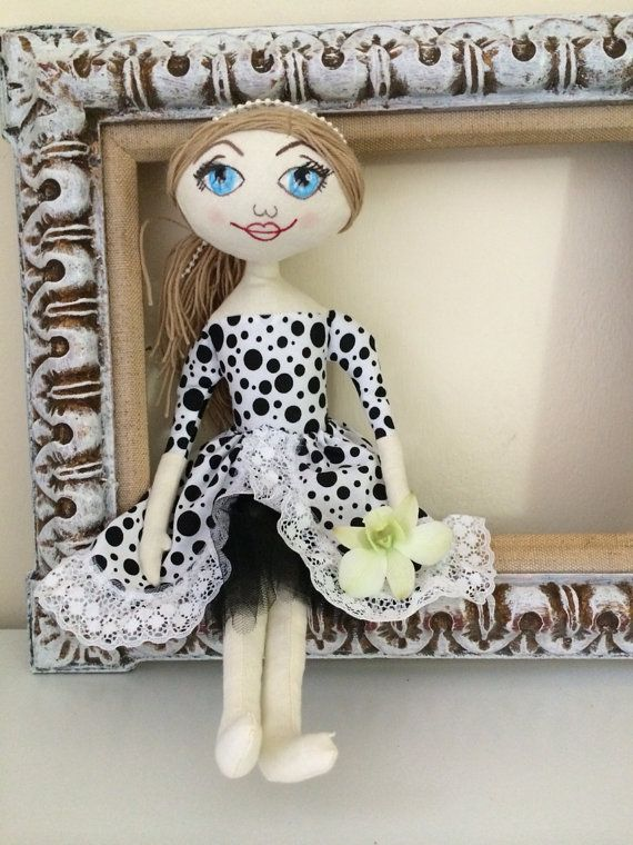 Fabric doll in black and white dress with painted by chubbyABC