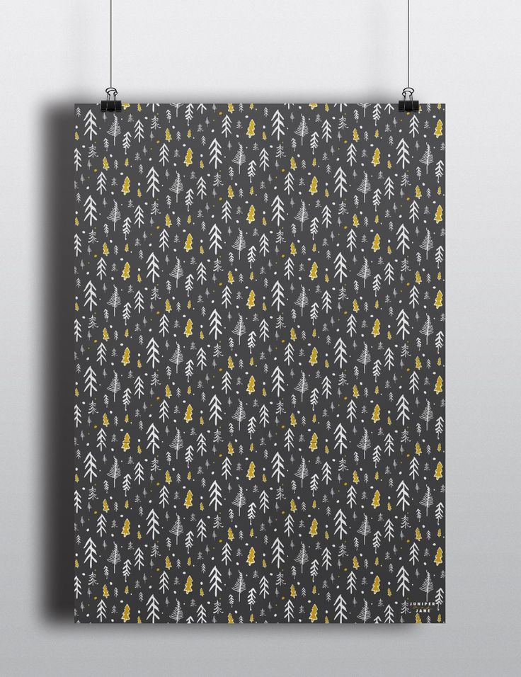 Sketchy Pines Gift Wrap Grey | Yellow Juniper and Jane