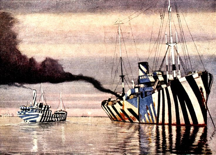 The dazzle design was a type of camouflage designed to make the ship's speed and location hard to gauge. The idea was that German U-Boat soldiers would not be able to accurately lead the target and would fire their torpedoes to one side or the other of the boat.