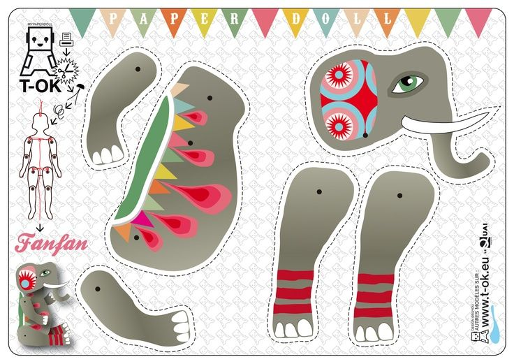 elephant mandala articulated doll, paper craft, printable LO