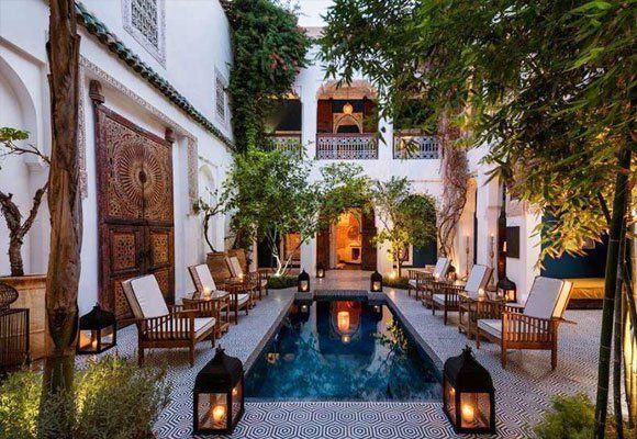 Patio marroquí con inspiración europea