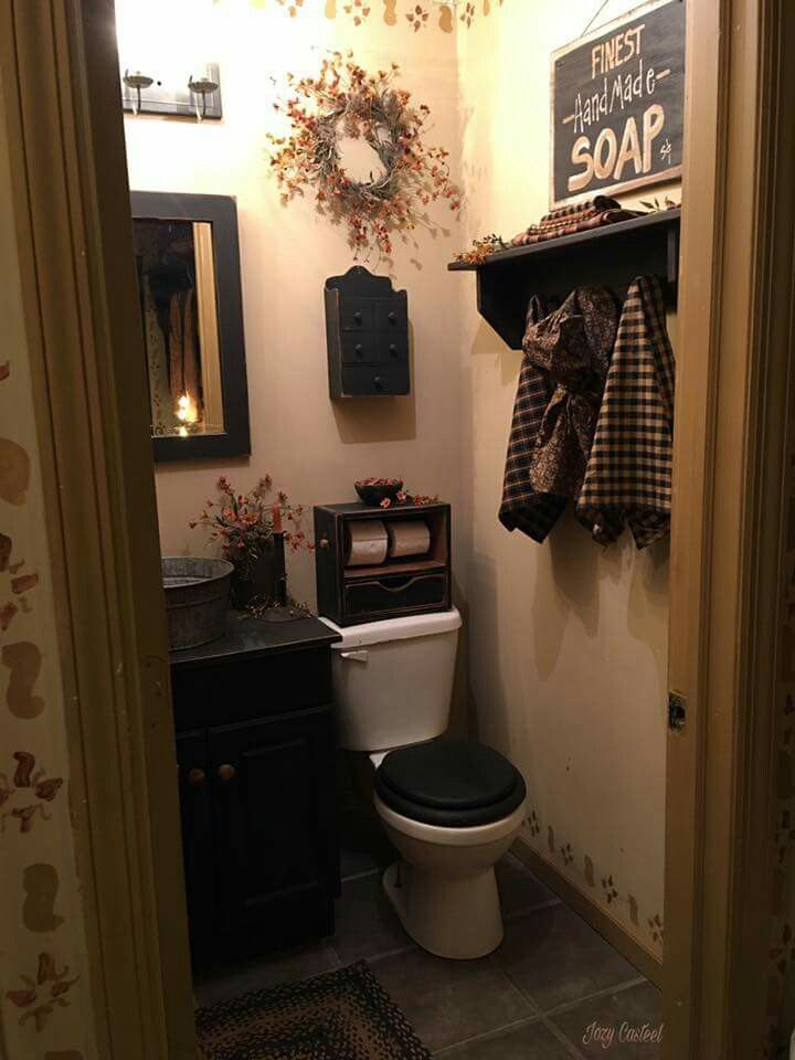 Country Bathroom Decor Ideas Part - 35: I Have Never Seen A Stencil Around The Baseboard! Primitive BathroomsCountry  ...
