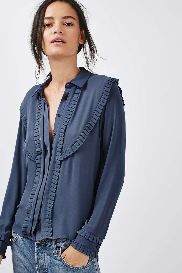 Pleat Bib Long Sleeve Shirt - Tops - Clothing - Topshop
