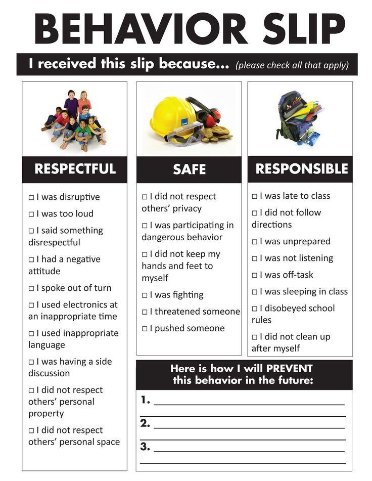 Middle School Behavior Slip ~ Needs to be rewritten using positive statements