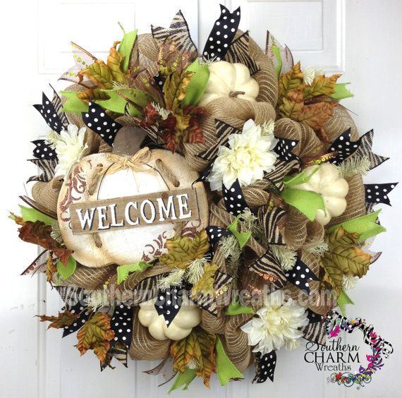 Deco Mesh Fall Burlap Welcome Wreath For by SouthernCharmWreaths, $168.33
