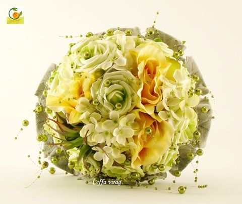 Zöld - sárga gyöngyös menyasszonyi körcsokor, Dekoráció, Esküvő, Otthon, lakberendezés, Esküvői csokor, Meska