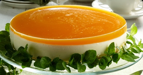 Lemon cheesecake with an orange glaze