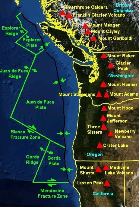 The Juan de Fuca and Gorda crustal plates, among the world's smallest. The Cascadia Subduction Zone is the black line with the converging arrows. Many of the most important Cascade volcanoes are shown as red triangles.Source: NASA -- http://geotripper.blogspot.com/2015/07/vagabonding-on-dangerous-ground.html