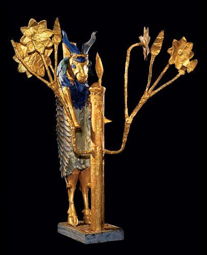 The 'Ram in a Thicket'    From Ur, southern Iraq, about 2600-2400 BC    This is one of an almost identical pair discovered by Leonard Woolley in the 'Great Death Pit', one of the graves in the Royal Cemetery at Ur. The other is now in the University of Pennsylvania Museum in Philadelphia. It was named the 'Ram in a Thicket' by the excavator Leonard Woolley, who liked biblical allusions. In Genesis 22