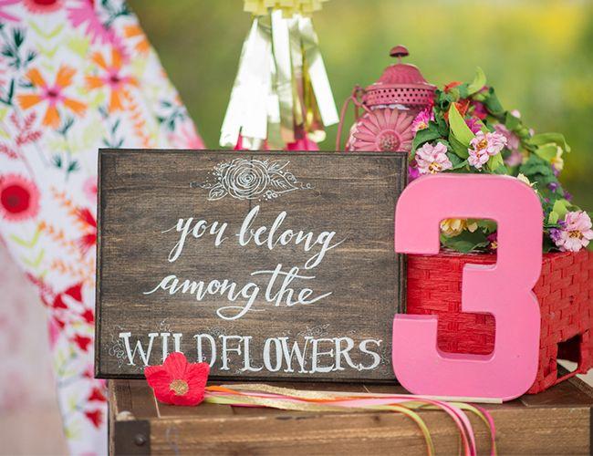 you belong among the wildflowers birthday sign