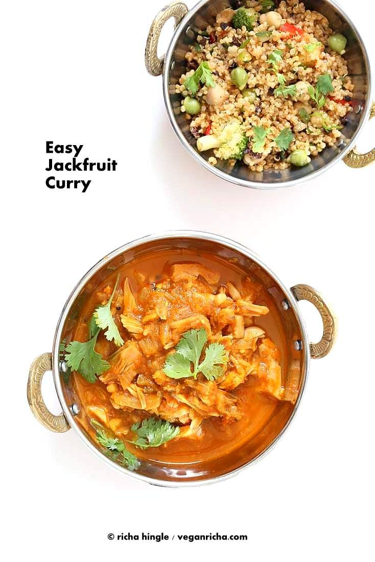 Easy Jackfruit Curry // beans or chickpeas or squash or chicken substitute or green jackfruit, cumin seeds, mustard seeds, nigella seeds, bay leaves, dried red chilies, onion, garlic, fresh ginger, coriander powder, turmeric, black pepper, tomatoes