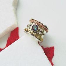 Mystic Topas Ring Bandring Gold Design Ø 18,5 - 19,25 mm 925 Sterling Silber neu