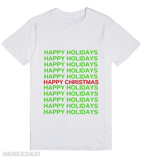 HAPPY MERRY CHRISTMAS  Printed on Skreened T-Shirt