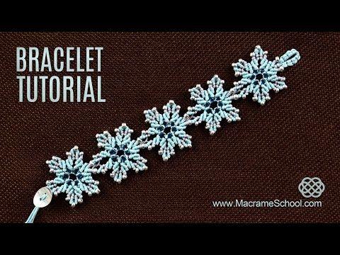 Frozen Flower Bracelet Tutorial by Macrame School - YouTube