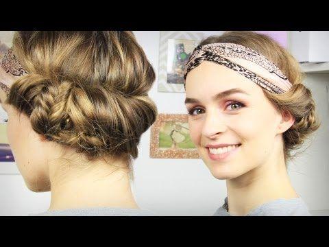 |Haare| Haarband-Frisur mit seitlichem Dutt - Tuchhaarband - schick & schnell