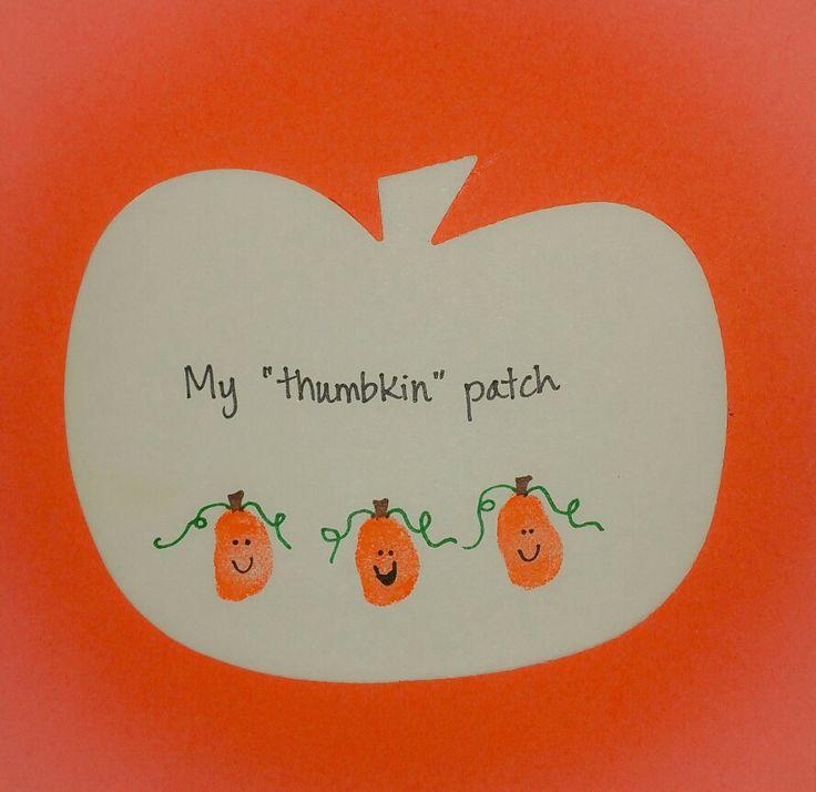 My Thumbkin Patch. Fall, autumn art craft. Smiling pumpkins made out of fingerprints/thumbprints
