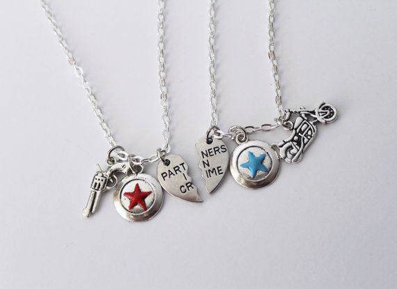 Are you a fan of Steve Rogers and Bucky Barness relationship? This set of Marvel inspired friendship necklaces feature iconic silver charms for
