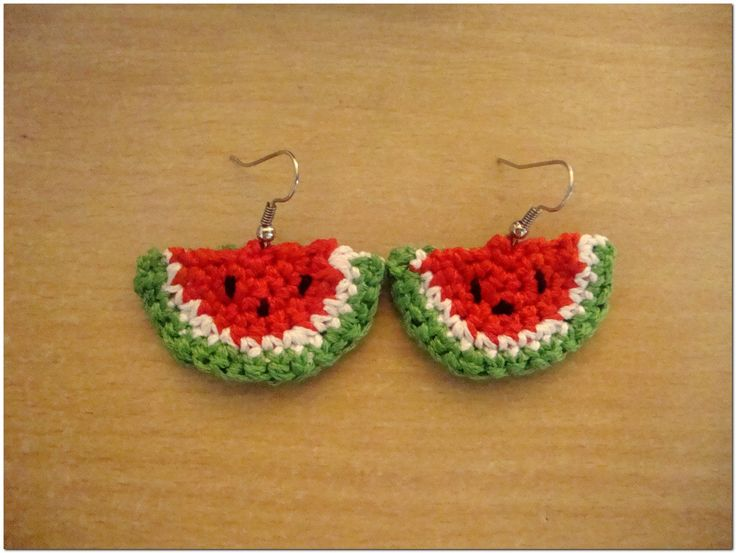 crochet earrings   Crochet watermelon earrings made from soft red and green crochet ...