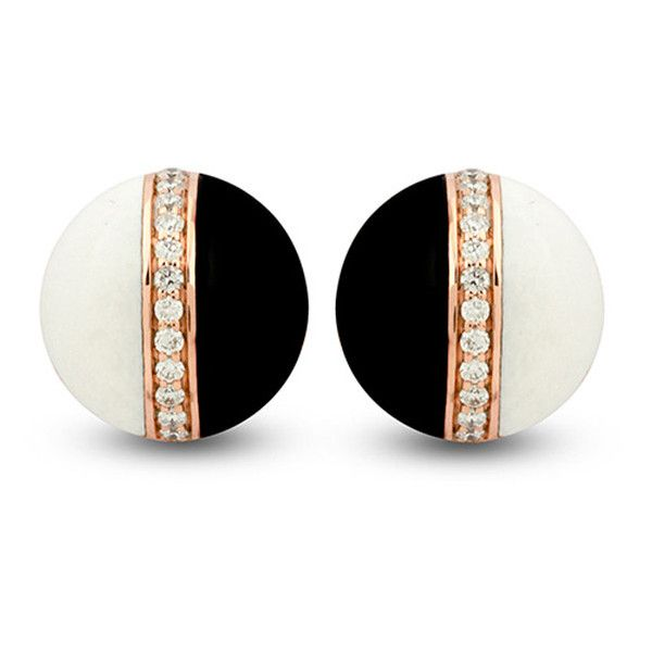 Rose Gold Black and White Mondrian Studs by The Jewel Teller ($2,265) ❤ liked on Polyvore featuring jewelry, earrings, accessories, joyas, red gold jewelry, polish jewelry, studded jewelry, black and white earrings and jewels jewelry
