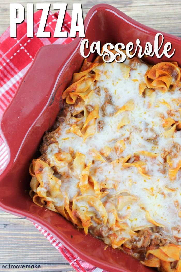 This pizza casserole recipe combines the best of pizza and pasta in one delicious crustless hot dish. Melted cheese, hearty pizza sauce and steaming hot noodles. Keep it simple and easy with the basics or add your favorite toppings like pepperoni, sausage, green peppers, mushrooms, black olives and more. Dig in! via @eatmovemake