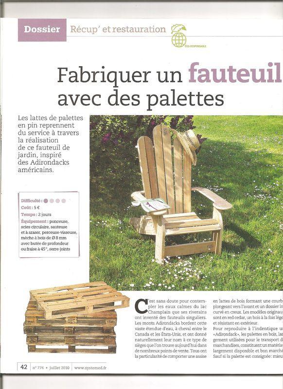 Sympa la transformation des palettes... en fauteuil style Adirondack ! mais vous pouvez aussi le trouver ici www.kebek.fr