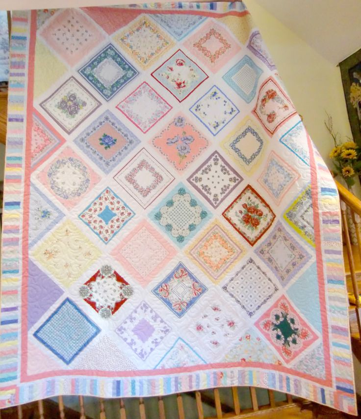 Beautiful quilt made from her grandmother's hankies and a few added in.   What great memories this will save.