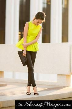 Neon color outfit style guide  You can never go wrong with black. Wear a neon top and a black bottom or vice versa, and pair it with a simple accessory like a clutch or a black shoe. If not a black color fan then, try it with white or khaki.