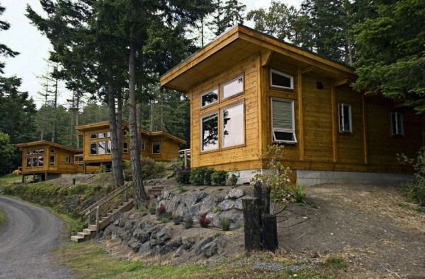 Little Cabins at Snug Harbor Resort Photo link also has interior pictures and floor plan and builder info.