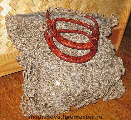 Сумка вязаная «Кружево» - лён,ирландское кружево,мотивы,сумка,авторская сумка