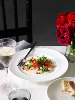 Kingfish carpaccio with blood orange, capers, watercress and piquillo - Guy Grossi - Gourmet Traveller
